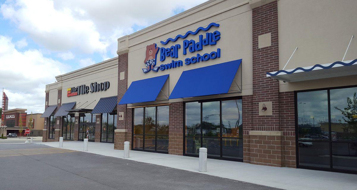 Bear Paddle Swim School exterior in retail development