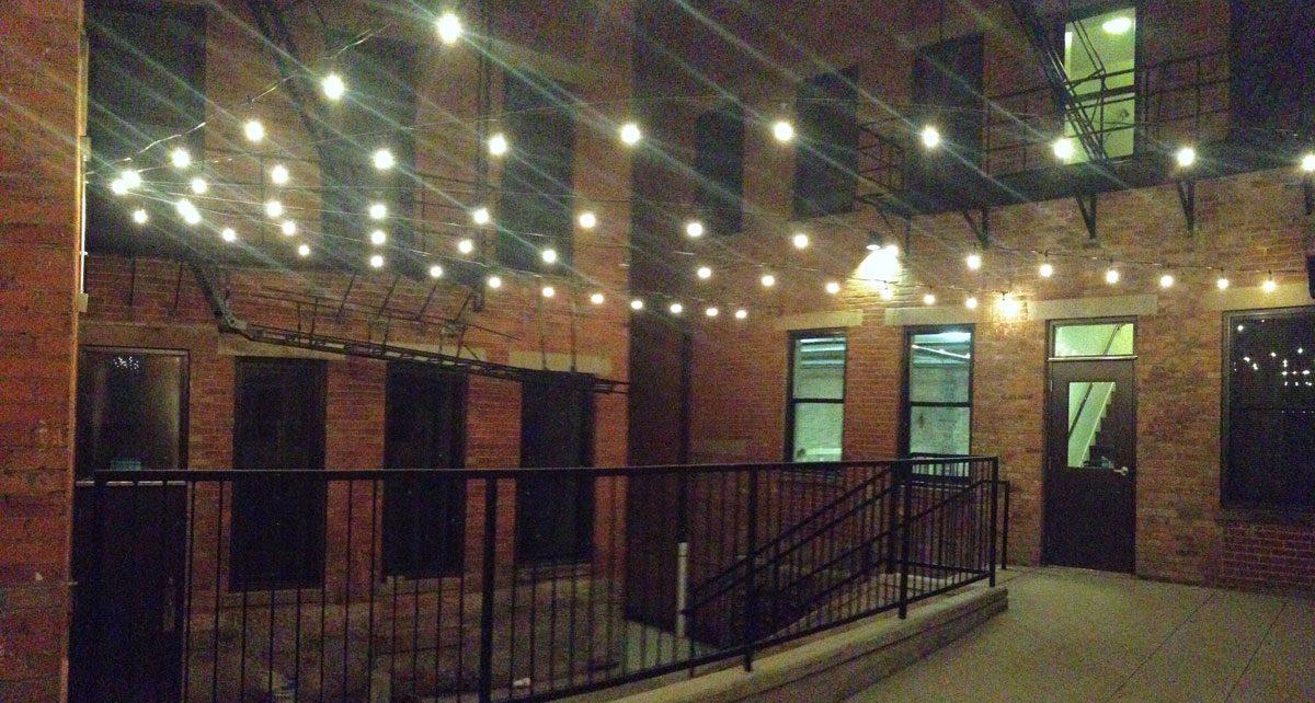 Courtyard at night at Broadway Square
