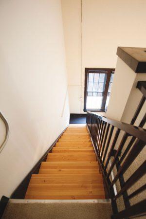 Alumni Lofts Stairwell down stairs